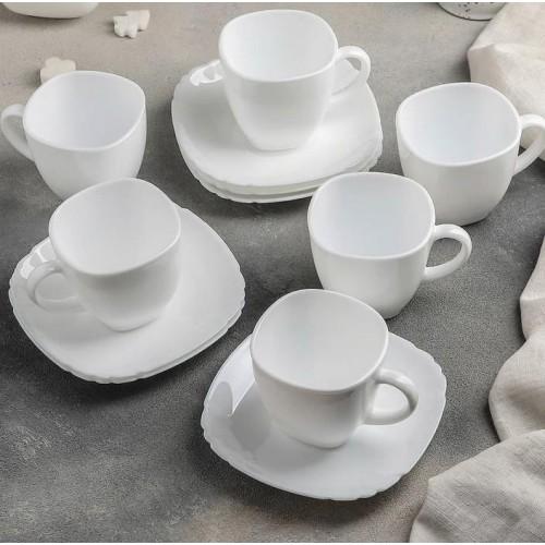 Сервиз чайный LUMINARC CARINE WHITE (CARINE CUP+LOTUSIA SAUCER), 12 предметов
