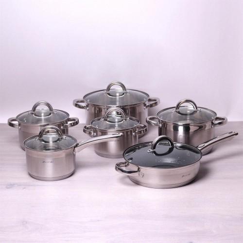 Набір посуду на 12 предметів Kamille з нержавіючої сталі каструлі для приготування їжі KM-5634S