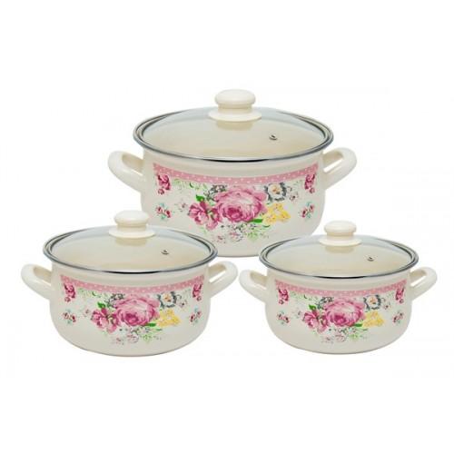 Набор кастрюль INFINITY Розовые Цветы (6 предметов)