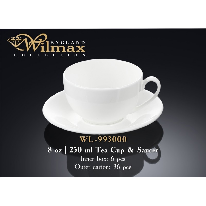 Чашка чайная с блюдцем фарфор 250 мл.Wilmax WL-993000