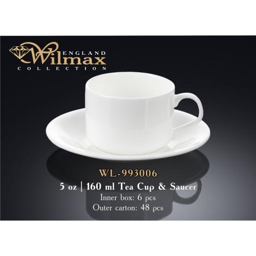Чашка чайная с блюдцем фарфор 160 мл. Wilmax WL-993006