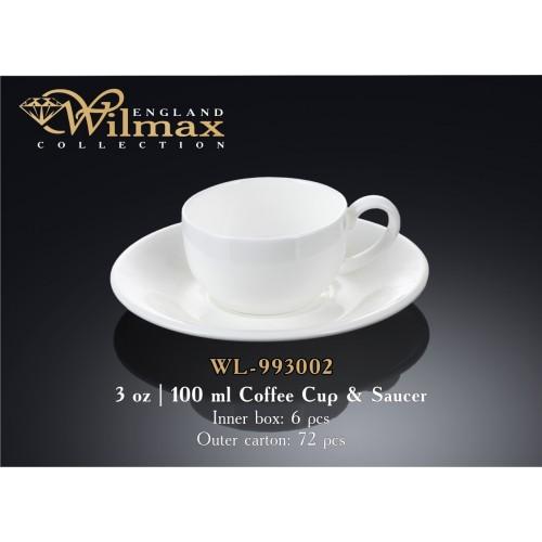 Чашка кофейная с блюдцем фарфор 100 мл. Wilmax WL-993002