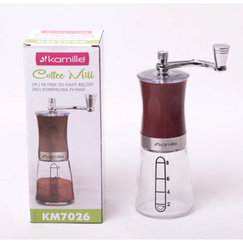 Кофемолка ручная (механическая) Ø6.5*18.5 см Kamille KM-7026