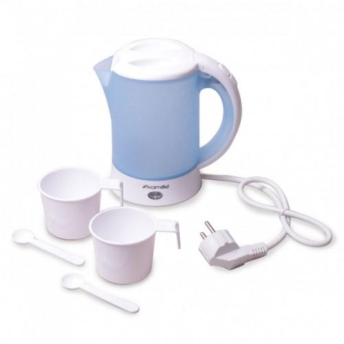 Чайник 0.6 л электрический пластиковый,белый-голубой c чашками и ложками Kamille KM-1718B