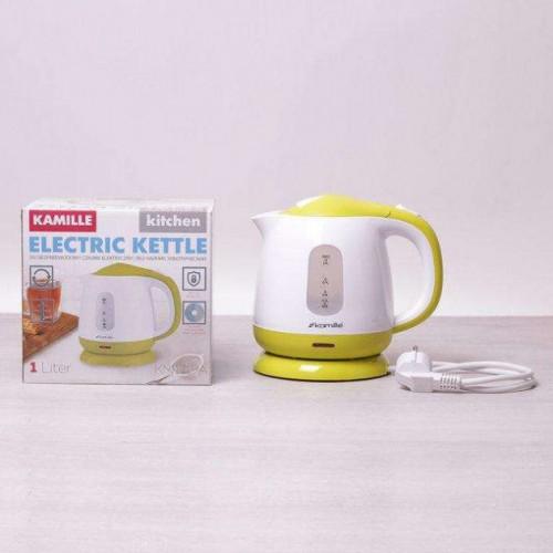 Чайник 1 л электрический пластиковый, белый-салатовый Kamille KM-1719A