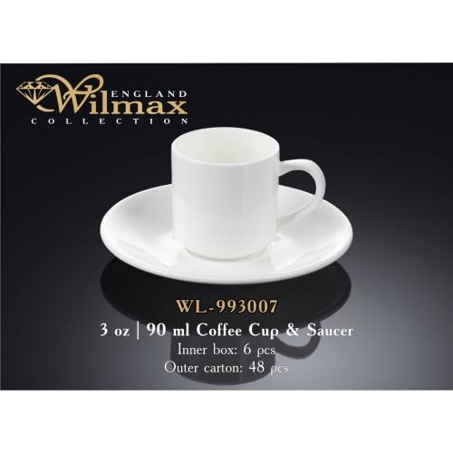 Чашка кофейная с блюдцем Wilmax 90 мл. WL-993007