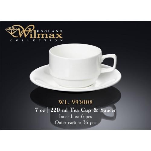 Чашка чайная с блюдцем Wilmax 220 мл. WL-993008
