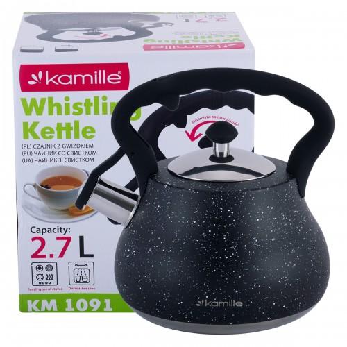 Чайник Kamille Черный 2,7л из нержавеющей стали KM-1091