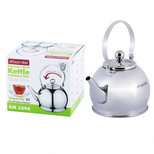 Чайник-заварник Kamille 1л из нержавеющей стали с ситечком KM-1094