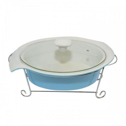 Мармит 1,4 л голубого цвета со стеклянной крышкой, Krauff 21-258-008