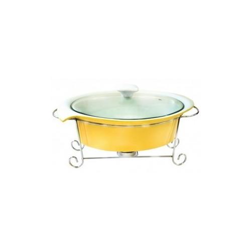 Кастрюля фарфоровая мармит 1,4 л бежевого цвета со стеклянной крышкой. Krauff 21-258-006