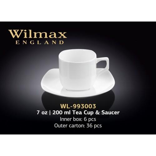 Чашка чайная с блюдцем 200 мл. фарфор Wilmax WL-993003