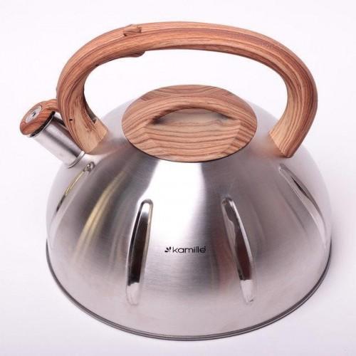 Чайник 5.0л Kamille (0698) из нержавеющей стали со свистком